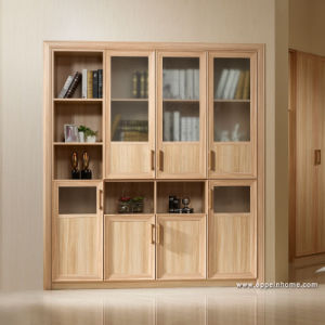 Oppein Wood Grain Plus Glass Storage Bookcases (TG11203) pictures & photos