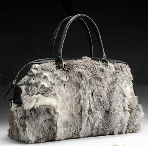 Fur Leather Ladies Handbag (H212) pictures & photos