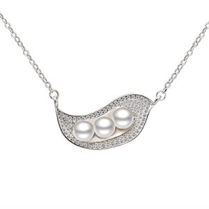 925 Sterling Silver Necklace Fashion Creative Leaf-Shaped Natural Freshwater Pearl Necklace Women Fine Jewelry pictures & photos