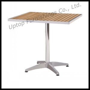 Outdoor Wooden Top Aluminum Bistro Patio Table (SP-AT325) pictures & photos