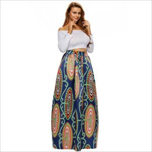 High-Waisted Abstract Floral Paint Long Full Skirt with Pocket pictures & photos
