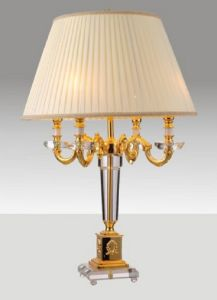 Phine 90167 Clear Crystal Table Lamp with Fabric Shade pictures & photos