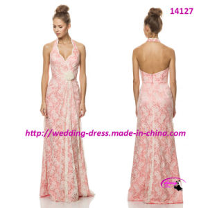 Lace Flower Pure Full Length Bridesmaid Bride Dress pictures & photos
