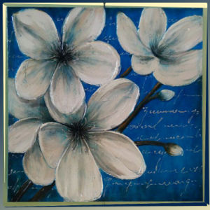 White Frangipani Flowers Canvas Oil Painting (LH-039000) pictures & photos