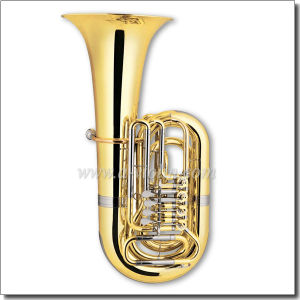 4 Valves Gold Lacquer Bb Key Rotary Tuba (TU9913) pictures & photos