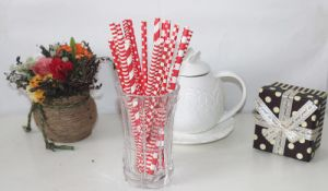 Red Striped Paper Drinking Straw, Paper Straws pictures & photos