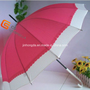 Two Colors Joined Leather Coated Handle Sun Umbrella (YS-1010A) pictures & photos