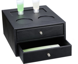 Waterproof Tow Drawers Bathroom Amenity Box with Leatherette pictures & photos