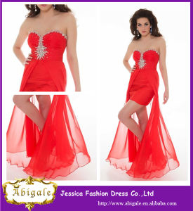 2014 Red Chiffon A Line Sweetheart Sleeveless Side Split Front Short Long Back Party Dresses (YC094)
