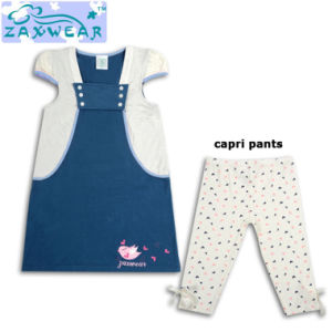 Zaxwear Bamboo Fiber Classic Girls Dress Sets with Matching Pants pictures & photos