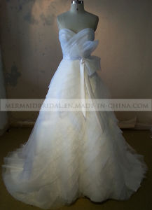 A-Line Ivory Organza Wedding Dress with Sash (M1312122)