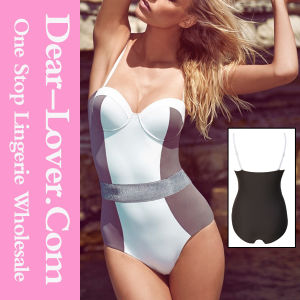 Color Blocking Bustier Top One-Piece Swimsuit pictures & photos