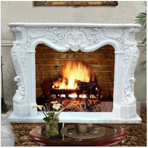 Stone Fireplace Mantel Hand Carved Fireplace (YKFFP-14)