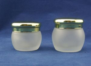Forsted Cream Glass Jar Bottle with Green Glass Bottles