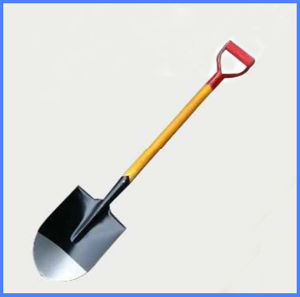 D Type Head Wooden Handle Round Pointed Steel Shovel pictures & photos