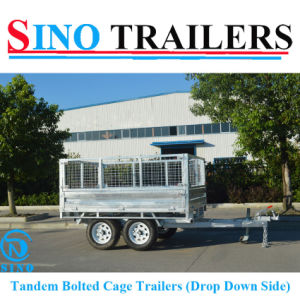Factory Direct Drop Down Sides Tandem Trailers with Removable Cages pictures & photos