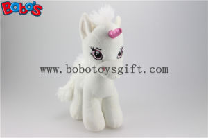 Soft Lovely White Baby Stuffed Unicorn Animal Toy with Long Plush Fur Bos1187 pictures & photos
