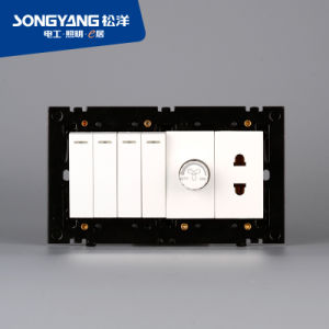 Electric Switch White Series 4gang+Dimmer+1socket Wall Switch pictures & photos