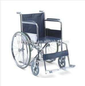 Leather Cushion Steel Folding Manual Wheelchairs W002 pictures & photos