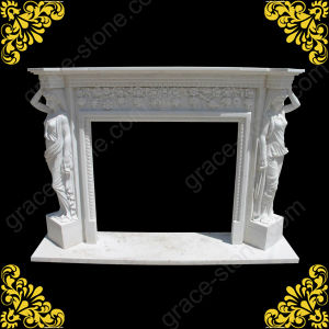 Carved Natural Marble Fireplace Mantel with Statue (GS-AF-001) pictures & photos