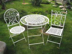 3PC Superior Elegant Fashion White Metal Folding Patio Outdoor ...