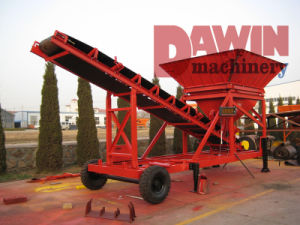 Belt Conveyor Mini Trailer Batching Plant on Sale with 20m3/Hr Capacity pictures & photos