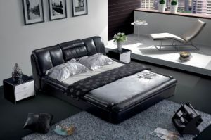 Modern Genuine Leather Bed (SBT-5846) pictures & photos