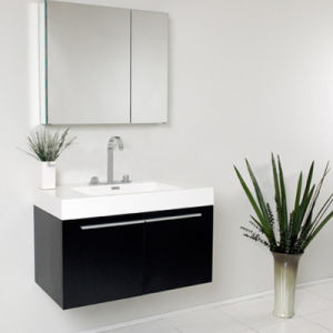 Black Painting Wood Wall Sanitary Ware Cabinet pictures & photos