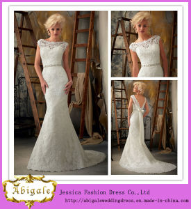 New White Mermaid Boat V Back Floor Length Chapel Train Lace Wedding Gown 2014 with Detachable Sash (WJ0001) pictures & photos
