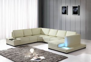 Home Furniture Real Italy Corner Leather Sofa with Table (S035)
