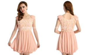 2015 Newest Fashion Flower Lace Pink Party Women Dress (60513202240)