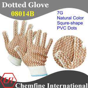 7g Natural Color Polyester/Cotton Knitted Glove with Brown Squre-Shape PVC Dots pictures & photos