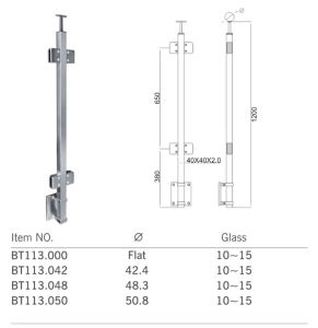 Good Quality Stainless Steel Glass Baluster Post (BT113) pictures & photos