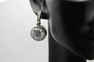 Round Silver Fashion with Cubic Zircon Copper Earring (NJB_0108)