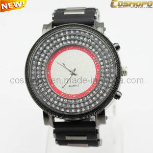 Men Silicone Watch with Three Rows Stones (SA1940)