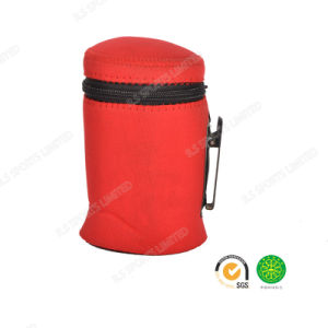 Colorful Neoprene Cola Can Cooler with SGS Certification Zipper in Red for Picnic