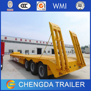 3 Axles 60 Tons Low Bed Trailer with Hydraulic Ramp pictures & photos
