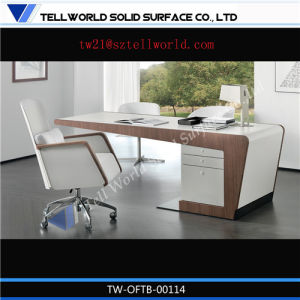 Global Modern White Corain Wood Effect Small Artificial Stone Office Desk with Chairs pictures & photos