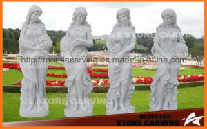 Four Season Gold Statues in White Carrara Marble pictures & photos