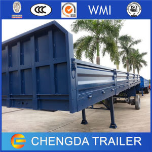 Shandong 3-Axle Flatbed Semi Trailer with Side Guard for Sale pictures & photos