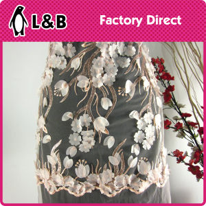 New Arrival Elegant 3D Embroidery Flower Pattern Fabric for Wedding Dress Full Dress Skirt pictures & photos
