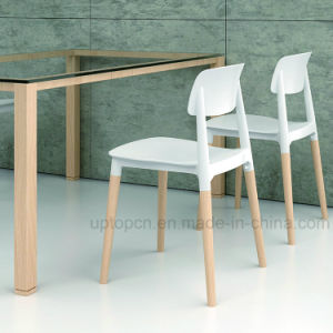 (SP-UC018) Restaurant Used Wood Leg Backrest Plastic Dining Chair pictures & photos