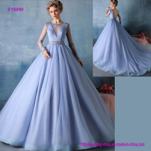E18490 Gorgeous Beading Ball Gown with Jewel Court Train Tulle Formal Evening Dress with Transparent Long Sleeves pictures & photos