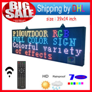 "LED Sign RGB 39""X14"" Remote Control Programmable Scrolling Outdoor Message LED Display Open 7 Color Message Board pictures & photos"