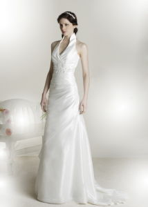 Popular Halter Taffeta Applique Wedding Dress (N009)