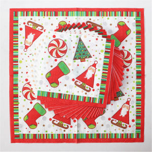 Disposable Party Paper Dinner Napkin with Santa Claus Printed pictures & photos