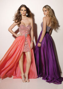 Hi-Low Evening Dress Gowns Chiffon Rhinestones Prom Dress (E118) pictures & photos