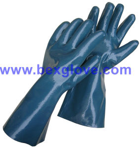 Cotton Interlock Liner, Nitrile Coating, Fully, 35cm Length Work Glove pictures & photos