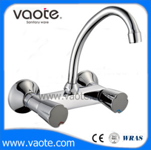 Double Handle Brass Body Sink Wall Mounted Faucet (VT60502) pictures & photos