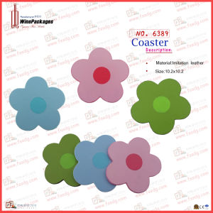 Beautiful Flowers PU Leather Coasters (6389) pictures & photos